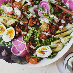 Summer Cobb Salad with coconut, Bacon