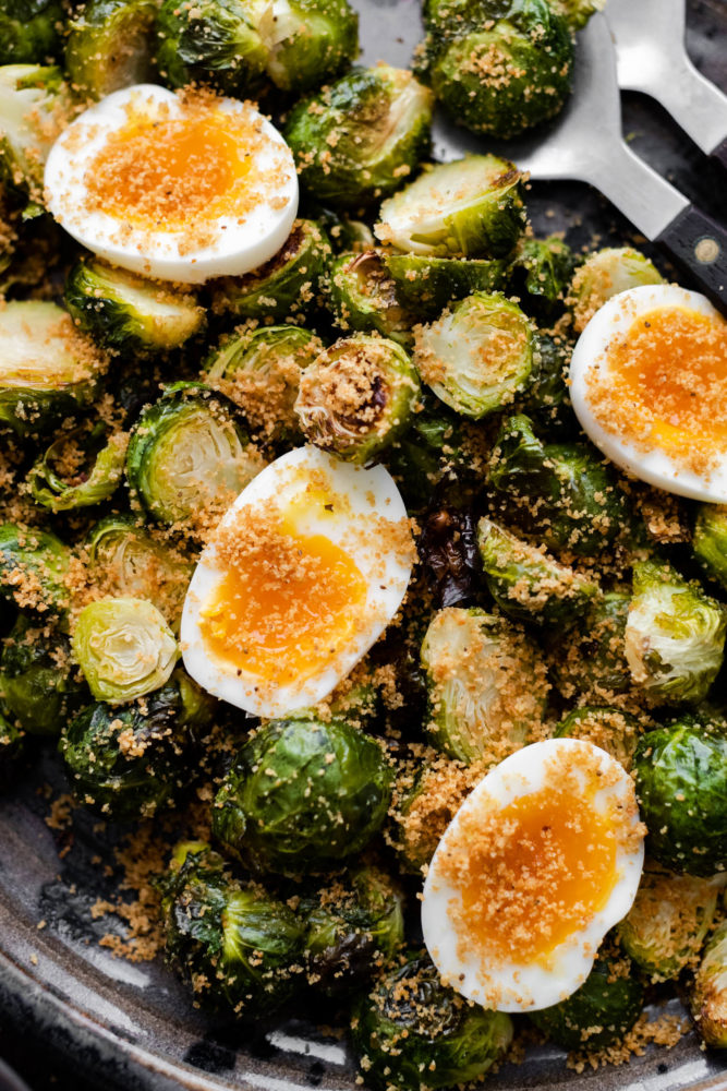 Cosmetic scissors with Brussels Sprouts with Jammy Eggs