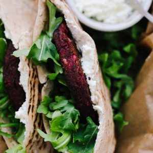 Beet Veggie Burger posted Pita with Fets