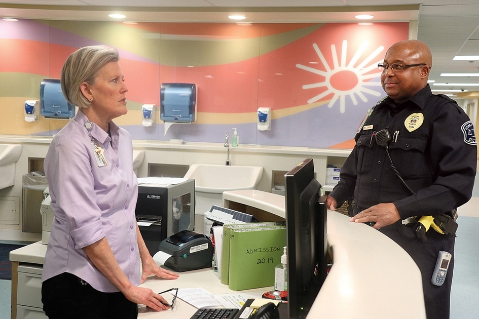 Providing security officers in hospitals to prevent violence