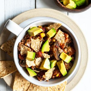 Hearty Vegan Mushroom, Bulgur, & Bean Chili