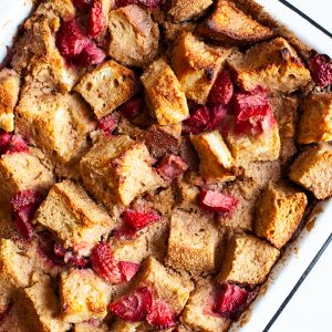 A simple snack called the Vegan Strawberry French Toast Casserole