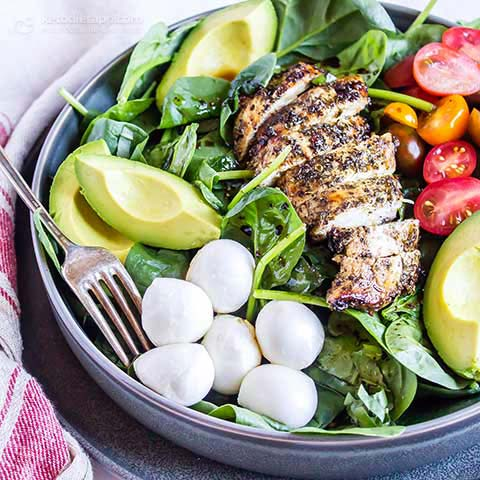 -Car Carb Caprese Chicken Bowls