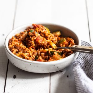 One Skillet Sprated Lentil Walnut Rice