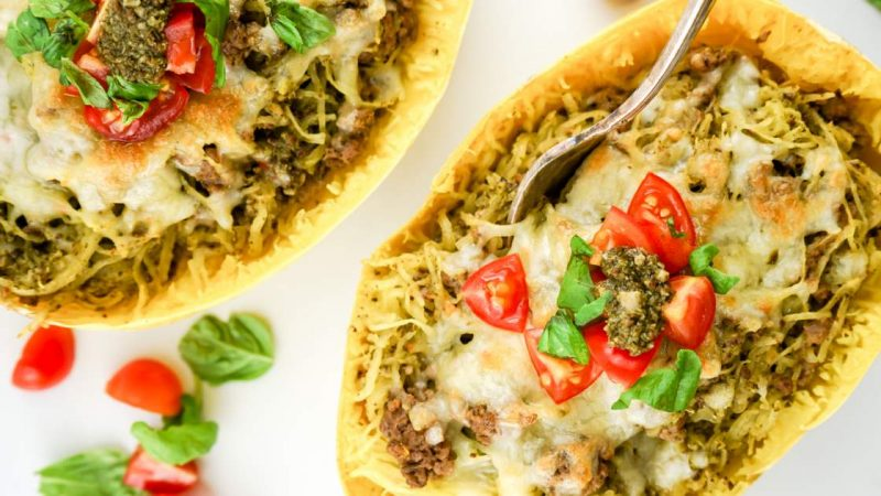 Pesto Spaghetti Squash along with Turkish soup