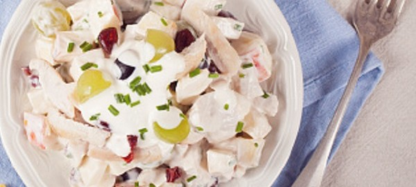 Cranberry salad with one chicken in one dish