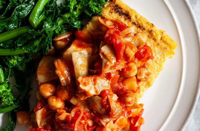Fried Polenta with Chickpeas, Artichokes & Tomatoes